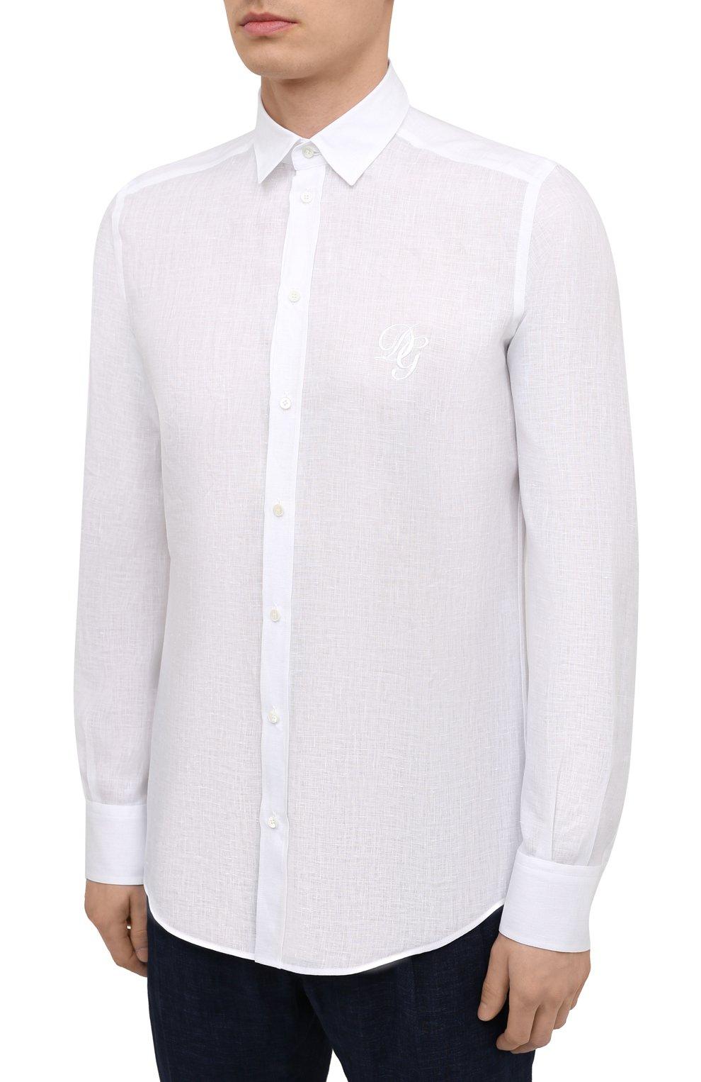 Мужская льняная рубашка DOLCE & GABBANA белого цвета, арт. G5EJ1Z/FU4IK | Фото 3