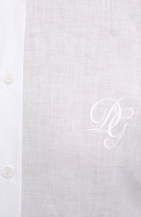 Мужская льняная рубашка DOLCE & GABBANA белого цвета, арт. G5EJ1Z/FU4IK | Фото 5
