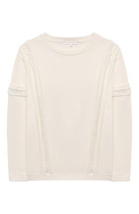 Детский хлопковый пуловер CHLOÉ белого цвета, арт. C15B78 | Фото 1