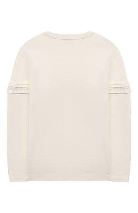 Детский хлопковый пуловер CHLOÉ белого цвета, арт. C15B78 | Фото 2