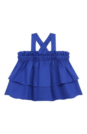 Детский хлопковый топ IL GUFO синего цвета, арт. P21CA011C0003/2A-4A | Фото 1 (Рукава: Короткие; Материал внешний: Хлопок; Девочки Кросс-КТ: топ-одежда; Ростовка одежда: 2 года | 92 см, 3 года | 98 см)