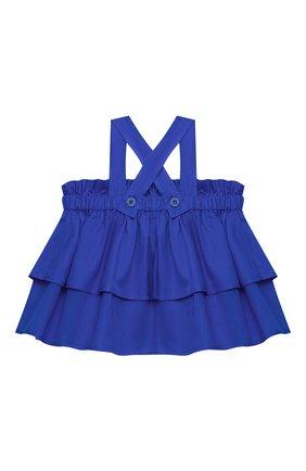 Детский хлопковый топ IL GUFO синего цвета, арт. P21CA011C0003/2A-4A | Фото 2 (Рукава: Короткие; Материал внешний: Хлопок; Девочки Кросс-КТ: топ-одежда; Ростовка одежда: 2 года | 92 см, 3 года | 98 см)