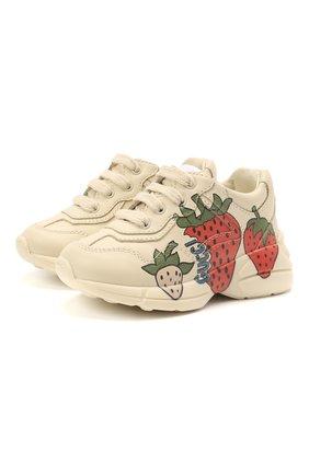 Детские кожаные кроссовки GUCCI кремвого цвета, арт. 648637/DRW00 | Фото 1