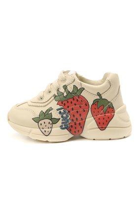 Детские кожаные кроссовки GUCCI кремвого цвета, арт. 648637/DRW00 | Фото 2