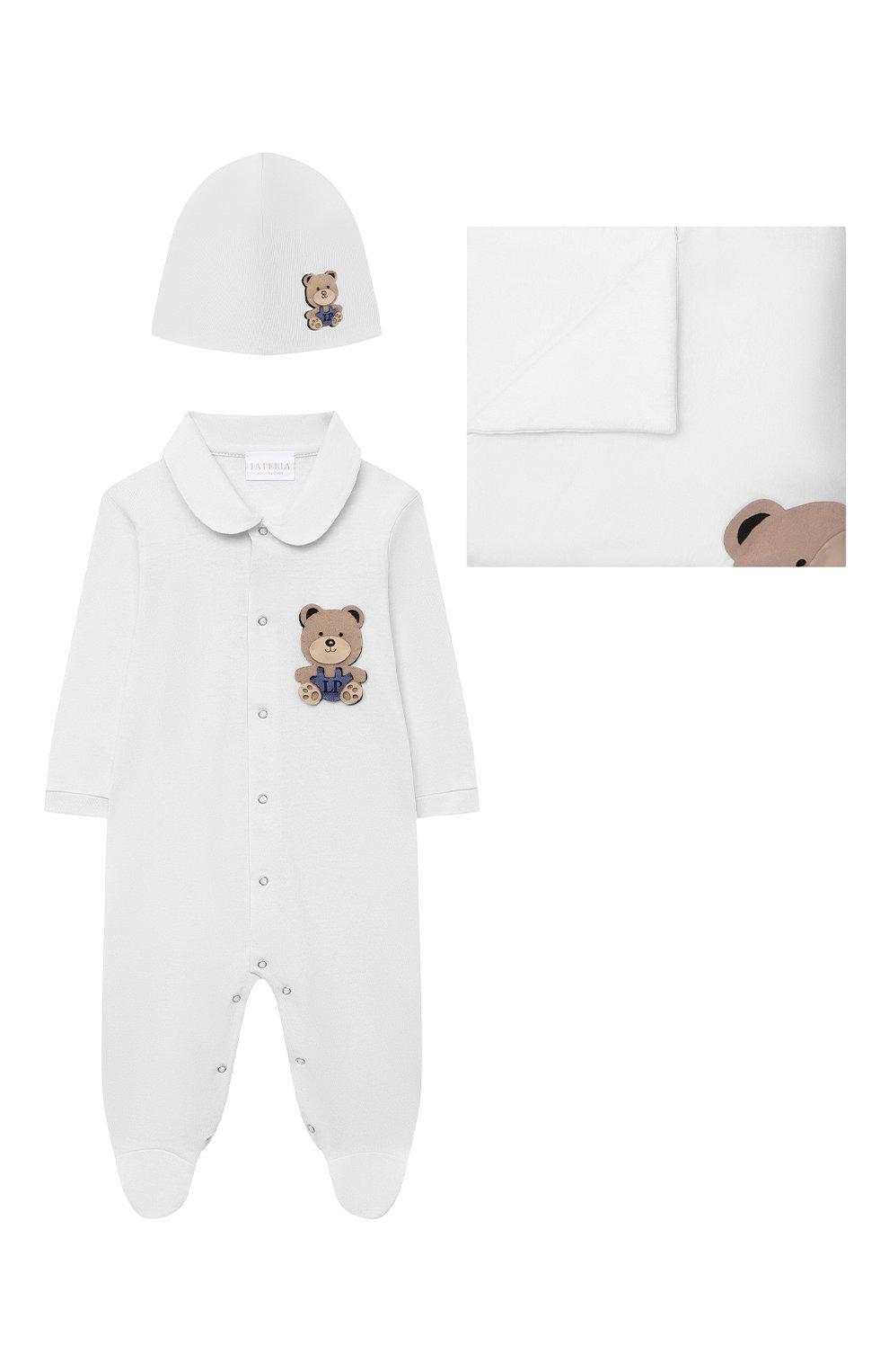 Детский комплект из трех предметов LA PERLA белого цвета, арт. 48324   Фото 1