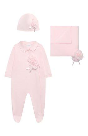 Детский комплект из трех предметов LA PERLA розового цвета, арт. 48357 | Фото 1