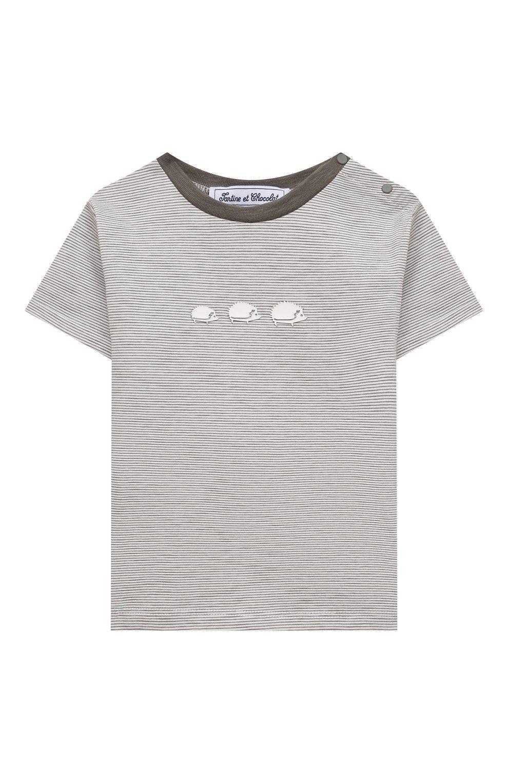 Детский хлопковая футболка TARTINE ET CHOCOLAT серого цвета, арт. TS10051/18M-3A | Фото 1