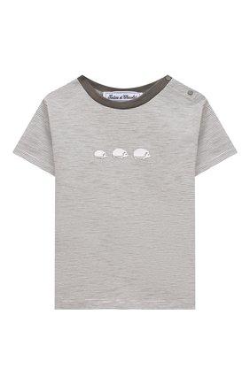 Детский хлопковая футболка TARTINE ET CHOCOLAT серого цвета, арт. TS10051/18M-3A | Фото 1 (Материал внешний: Хлопок; Рукава: Короткие; Ростовка одежда: 36 мес | 98 см)