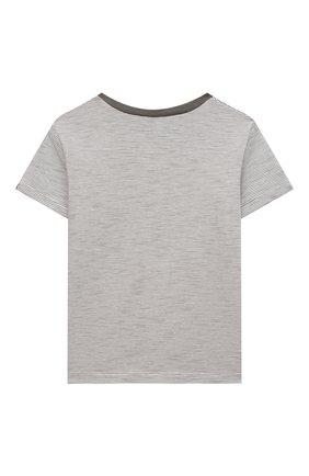 Детский хлопковая футболка TARTINE ET CHOCOLAT серого цвета, арт. TS10051/18M-3A | Фото 2 (Материал внешний: Хлопок; Рукава: Короткие; Ростовка одежда: 36 мес | 98 см)