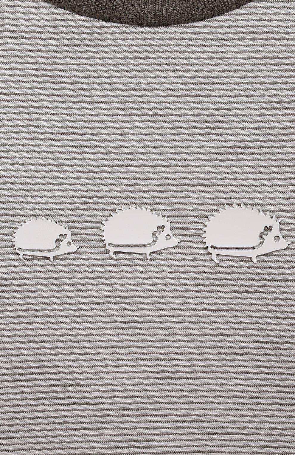 Детский хлопковая футболка TARTINE ET CHOCOLAT серого цвета, арт. TS10051/18M-3A | Фото 3