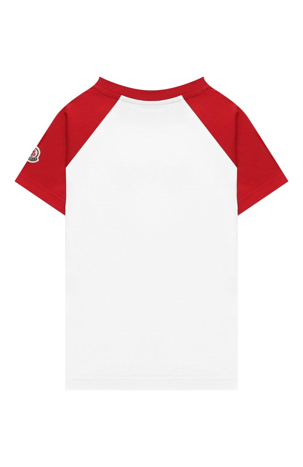 Детского комплект из футболки и шорт MONCLER красного цвета, арт. G1-954-8M747-20-83907/4-6A | Фото 3 (Рукава: Короткие; Материал внешний: Хлопок; Мальчики Кросс-КТ: Костюмы-спорт; Ростовка одежда: 4 года | 104 см, 5 лет | 110 см, 6 лет | 116 см)