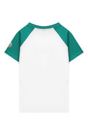 Детского комплект из футболки и шорт MONCLER зеленого цвета, арт. G1-954-8M747-20-83907/4-6A | Фото 3 (Рукава: Короткие; Материал внешний: Хлопок; Мальчики Кросс-КТ: Костюмы-спорт; Ростовка одежда: 4 года | 104 см, 5 лет | 110 см, 6 лет | 116 см)