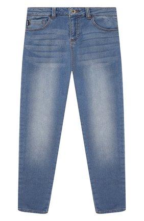 Детские джинсы MOSCHINO синего цвета, арт. HUP04F/LDE08/4A-8A   Фото 1