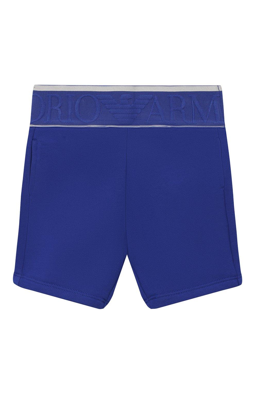 Детские хлопковые шорты EMPORIO ARMANI синего цвета, арт. 3KHS06/4JHXZ | Фото 1
