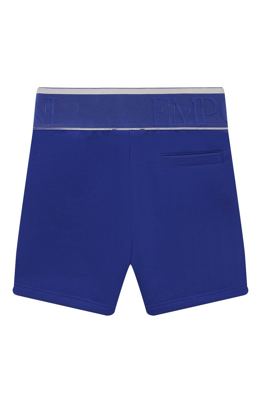 Детские хлопковые шорты EMPORIO ARMANI синего цвета, арт. 3KHS06/4JHXZ | Фото 2