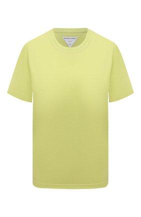 Женская хлопковая футболка BOTTEGA VENETA светло-зеленого цвета, арт. 649060/VF1U0 | Фото 1