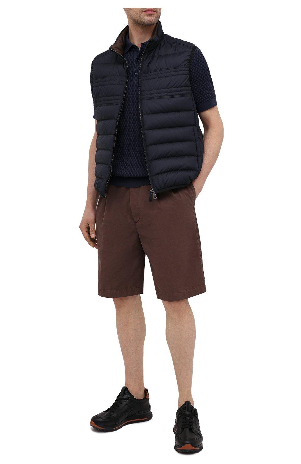 Мужское поло из хлопка и шелка BRIONI темно-синего цвета, арт. UMR200/P0K16 | Фото 2
