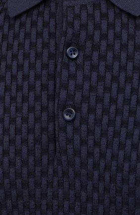 Мужское поло из хлопка и шелка BRIONI темно-синего цвета, арт. UMR200/P0K16 | Фото 5