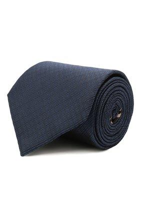 Мужской шелковый галстук BRIONI синего цвета, арт. 062H00/P0484   Фото 1 (Принт: Без принта; Материал: Шелк, Текстиль)
