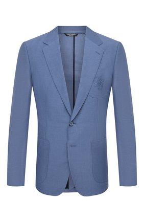 Мужской пиджак изо льна и хлопка DOLCE & GABBANA синего цвета, арт. G20L6Z/FU4F6 | Фото 1