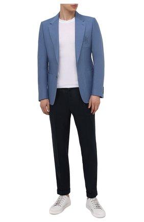 Мужской пиджак изо льна и хлопка DOLCE & GABBANA синего цвета, арт. G20L6Z/FU4F6 | Фото 2