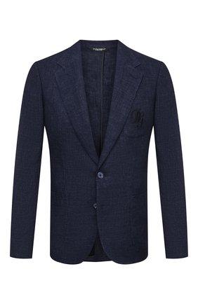 Мужской льняной пиджак DOLCE & GABBANA темно-синего цвета, арт. G20L6Z/HUMHJ | Фото 1