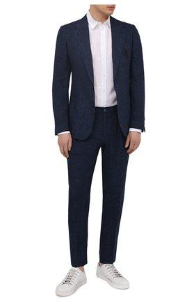 Мужской льняной пиджак DOLCE & GABBANA темно-синего цвета, арт. G20L6Z/HUMHJ | Фото 2