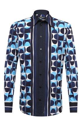 Мужская хлопковая рубашка DOLCE & GABBANA синего цвета, арт. G5GZ3T/HP54T | Фото 1 (Манжеты: На пуговицах; Длина (для топов): Стандартные; Рукава: Длинные; Материал внешний: Хлопок; Случай: Повседневный; Принт: С принтом; Рубашки М: Regular Fit; Воротник: Кент)