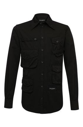 Мужская хлопковая рубашка DOLCE & GABBANA черного цвета, арт. G5IF0T/G8DS2 | Фото 1