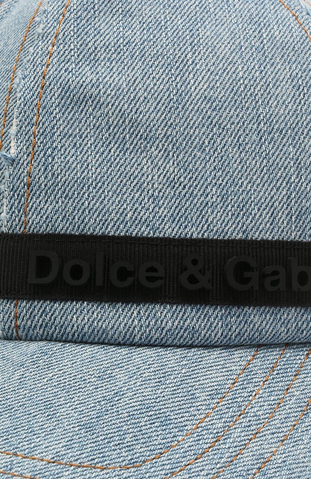 Мужской джинсовая бейсболка DOLCE & GABBANA синего цвета, арт. GH590Z/GEQ95 | Фото 3
