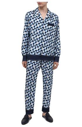 Мужские шелковые домашние брюки DOLCE & GABBANA синего цвета, арт. GYB0HT/FI1VB | Фото 2