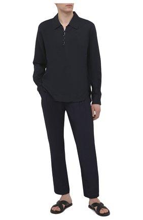 Мужские брюки из вискозы и льна GIORGIO ARMANI темно-синего цвета, арт. 1SGPP0HN/T00RJ | Фото 2