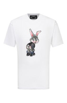 Мужская хлопковая футболка DOMREBEL белого цвета, арт. CHEEKS/T-SHIRT | Фото 1 (Рукава: Короткие; Длина (для топов): Стандартные; Материал внешний: Хлопок; Принт: С принтом; Стили: Гранж)