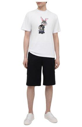 Мужская хлопковая футболка DOMREBEL белого цвета, арт. CHEEKS/T-SHIRT | Фото 2 (Рукава: Короткие; Длина (для топов): Стандартные; Материал внешний: Хлопок; Принт: С принтом; Стили: Гранж)