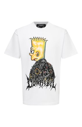 Мужская хлопковая футболка DOMREBEL белого цвета, арт. DUDE/T-SHIRT | Фото 1 (Рукава: Короткие; Принт: С принтом; Стили: Панк; Материал внешний: Хлопок; Длина (для топов): Стандартные)