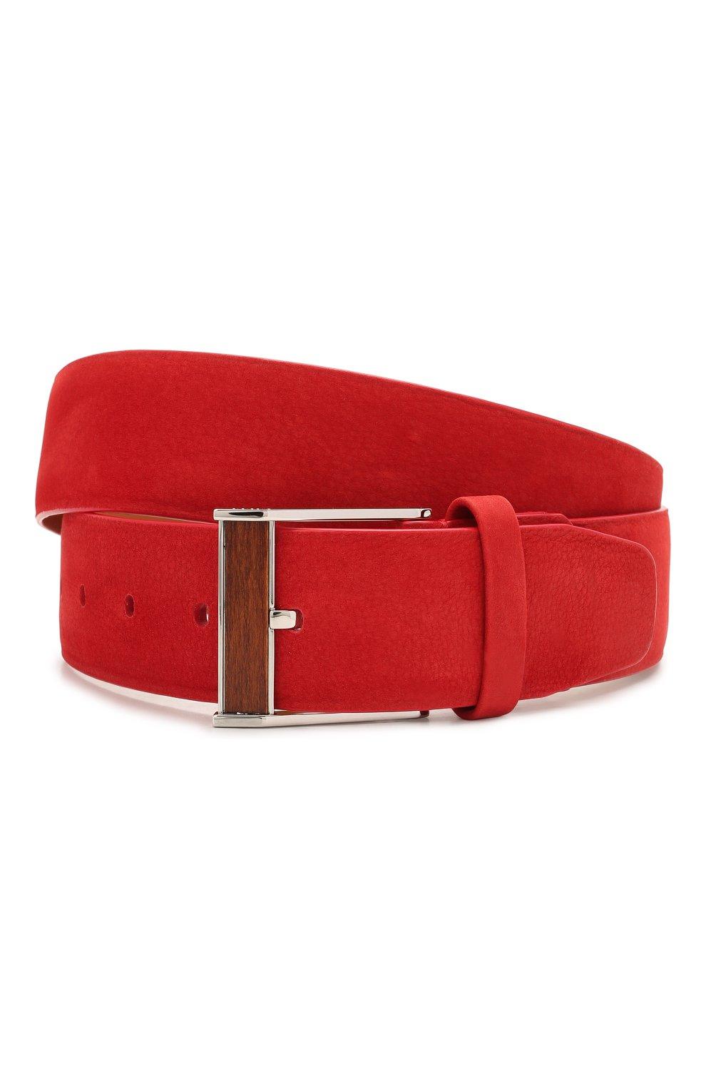 Мужской кожаный ремень ZILLI красного цвета, арт. MJL-CLAQE-01980/0057 | Фото 1