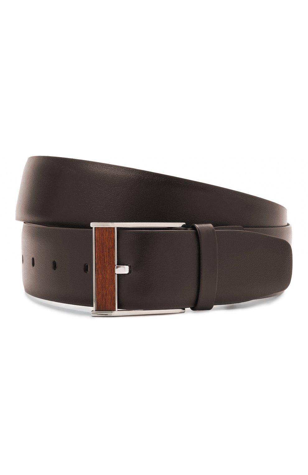 Мужской кожаный ремень ZILLI коричневого цвета, арт. MJL-CLAQE-01030/0057 | Фото 1 (Случай: Формальный)
