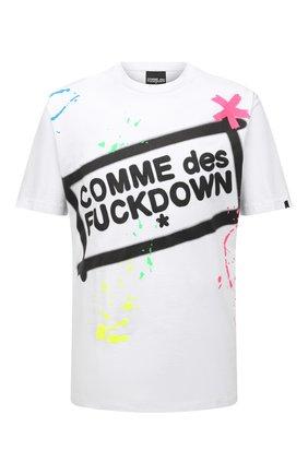 Мужская хлопковая футболка COMME DES FUCKDOWN белого цвета, арт. CDFU1126 | Фото 1