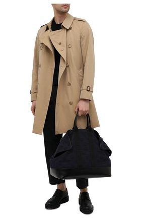 Мужская текстильная сумка ALEXANDER MCQUEEN темно-синего цвета, арт. 575553/1AAAM   Фото 2 (Материал: Текстиль; Ремень/цепочка: На ремешке)