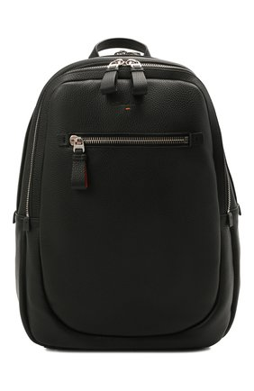 Мужской кожаный рюкзак SANTONI черного цвета, арт. UIBBA2089TR-AMA1N01 | Фото 1 (Материал: Натуральная кожа)