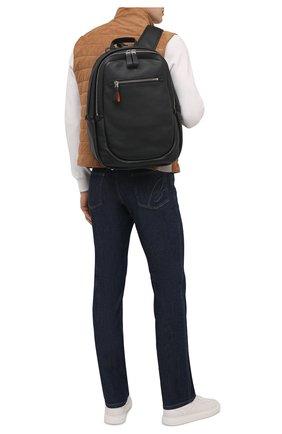 Мужской кожаный рюкзак SANTONI черного цвета, арт. UIBBA2089TR-AMA1N01 | Фото 2 (Материал: Натуральная кожа)