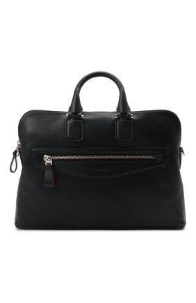 Мужская кожаная сумка для ноутбука SANTONI черного цвета, арт. UIBBA2044LI-AGTQN01 | Фото 1 (Ремень/цепочка: На ремешке; Материал: Натуральная кожа)