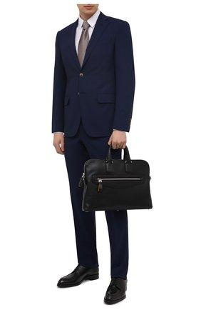 Мужская кожаная сумка для ноутбука SANTONI черного цвета, арт. UIBBA2044LI-AGTQN01 | Фото 2 (Ремень/цепочка: На ремешке; Материал: Натуральная кожа)