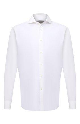 Мужская сорочка из хлопка и льна CORNELIANI белого цвета, арт. 87P002-1111342/00 | Фото 1