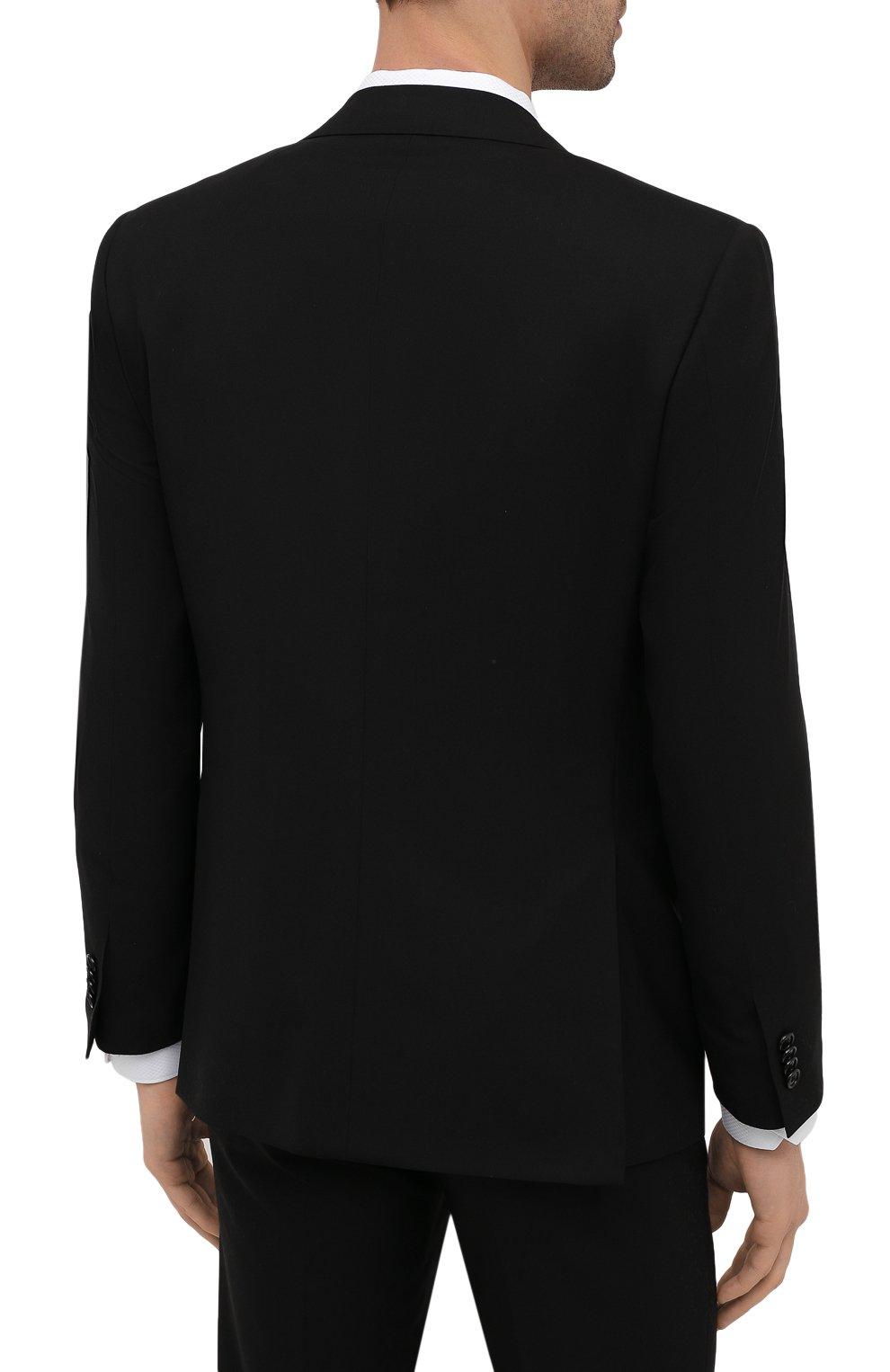 Мужской шерстяной костюм CORNELIANI черного цвета, арт. 877268-1118414/92 Q1 | Фото 3 (Материал внешний: Шерсть; Рукава: Длинные; Костюмы М: Однобортный; Стили: Классический; Материал подклада: Купро)