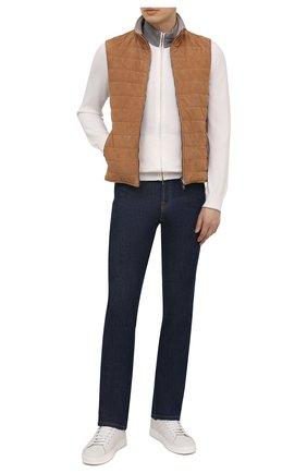 Мужской кардиган из хлопка и шелка FIORONI белого цвета, арт. MKL16800E1 | Фото 2 (Длина (для топов): Стандартные; Мужское Кросс-КТ: Кардиган-одежда; Стили: Кэжуэл; Рукава: Длинные; Материал внешний: Хлопок)