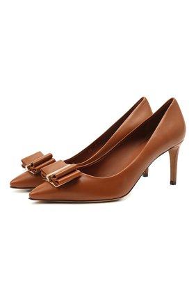 Женские кожаные туфли SALVATORE FERRAGAMO светло-коричневого цвета, арт. Z-07409891C | Фото 1
