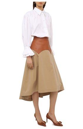 Женские кожаные туфли SALVATORE FERRAGAMO светло-коричневого цвета, арт. Z-07409891C | Фото 2