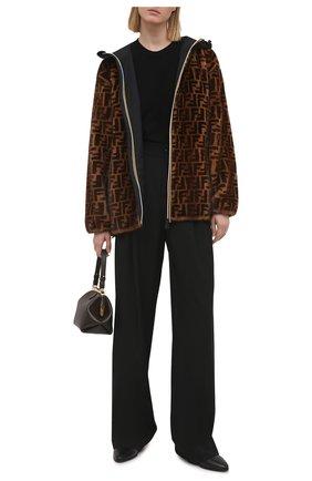Женская куртка с меховой подкладкой FENDI коричневого цвета, арт. FNE70I AEKV   Фото 2