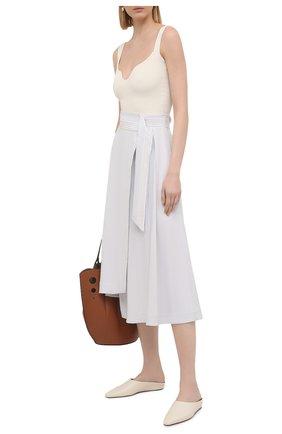 Женская льняная юбка LORENA ANTONIAZZI белого цвета, арт. P2125G0004/3347   Фото 2
